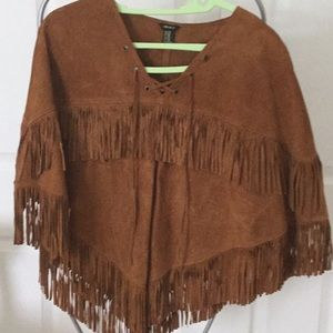 Pigskin leather fringed poncho